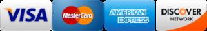 Visa, MasterCard, American Express, and Discover Network logos